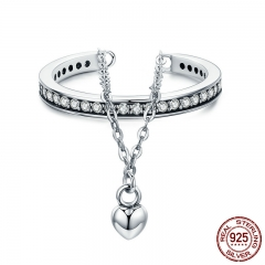 High Quality 100% 925 Sterling Silver Stackable Clear CZ Heart Chain Double Layer Ring for Women Wedding Jewelry SCR291