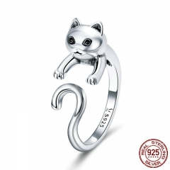 Genuine 925 Sterling Silver Long Tail Naughty Cat Finger Rings for Women Adjustable Size Sterling Silver Jewelry SCR409