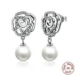 New 100% Authentic 925 Sterling Silver Rose and Pearl Female Earrings TOP Quality Drop Earrings Jewelry SCE001