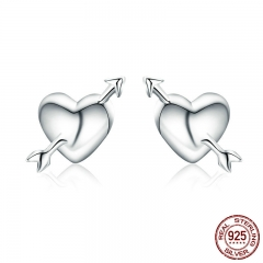 100% Authentic 925 Sterling Silver Fall in Love Heart Small Stud Earrings for Women Valentine Day Jewelry Brincos SCE282