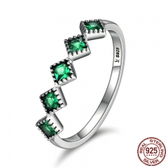 High Quality 925 Sterling Silver Stackable Square Green CZ Finger Rings for Women Wedding Engagement Jewelry Gift SCR097