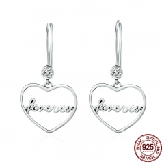Romantic Genuine 925 Sterling Silver Love is Forever Heart Long Drop Earrings for Women Luxury Jewelry Gift Bijoux SCE152