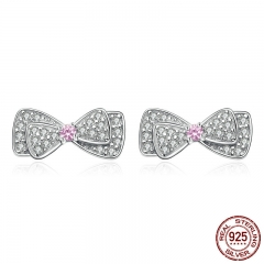 Hot Sale Genuine 925 Sterling Silver Shimming Pink CZ Bowknot Stud Earrings for Women Brincos Fine Jewelry Bijoux SCE092