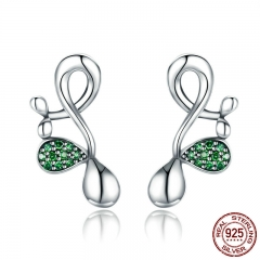 New Collection 925 Sterling Silver Buds of Spring Green CZ Stud Earrings for Women Sterling Silver Jewelry Gift SCE372
