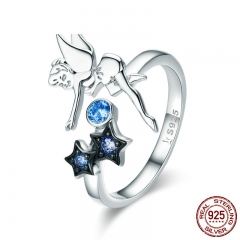 Hot Sale Authentic 925 Sterling Silver Fairy with Star Luminous CZ Finger Ring for Women Sterling Silver Jewelry SCR349
