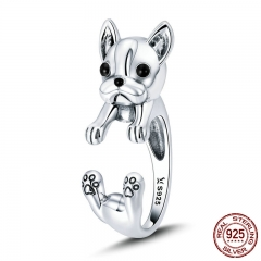 925 Sterling Silver French Bulldog Animal Female Finger Rings for Women Adjustable Size Sterling Silver Jewelry SCR411 RING-0456