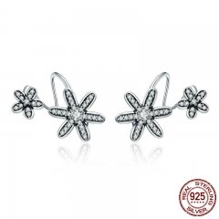 100% 925 Sterling Silver Spring Flower Daisy Clear CZ Twisted Shape Stud Earrings for Women Fine Jewelry S925 Gift SCE338