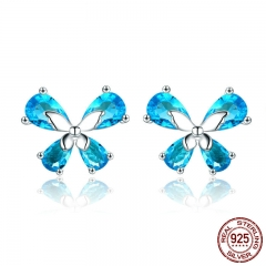 100% 925 Sterling Silver Dancing Butterfly Light Blue CZ Small Stud Earrings for Women Sterling Silver Jewelry SCE371