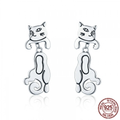 Fashion Authentic 925 Sterling Silver Clingy Cat Pussy Exquisite Stud Earrings for Women Sterling Silver Jewelry SCE357