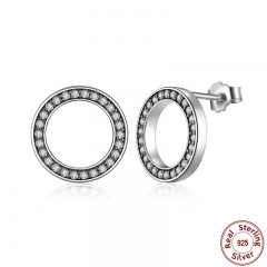Forever Clear CZ 925 Sterling Silver Circle Round Stud Earrings with CZ Jewelry GIFT Oorbellen Bijoux PAS437