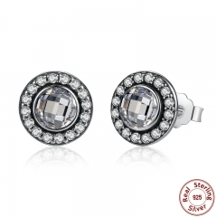 Authentic 925 Sterling Silver Brilliant Legacy Stud Earrings With Clear CZ for Women Anniversary Jewelry PAS422