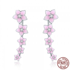 100% 925 Sterling Silver Cherry Flower Pink Enamel Cuff Drop Earrings for Women Fashion Silver Earrings Jewelry SCE256 EARR-0291