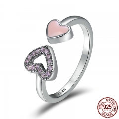 Genuine 925 Sterling Silver Heart to Heart Enamel & Clear CZ Finger Ring Wedding Band Engagement Ring Jewelry SCR209