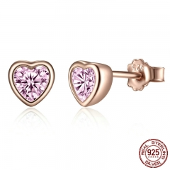 100% 925 Sterling Silver 3 Colors Heart Dazzling Pink CZ Stud Earrings for Women Sterling Silver Jewelry Gift PAS452-J
