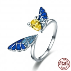 New Trendy 100% 925 Sterling Silver Lovely Butterfly Fairy Adjustable Open Size Ring Women Sterling Silver Jewelry SCR359