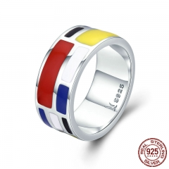 Authentic 100% 925 Sterling Silver Colorful Enamel Geometric Square Finger Rings for Women Sterling Silver Jewelry SCR251