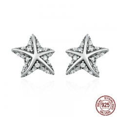 Hot Sale 100% 925 Sterling Silver Star Tropical Starfish Stud Earrings for Women, Clear CZ Fashion Jewelry Bijoux PAS514