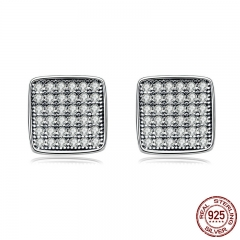Authentic 925 Sterling Silver Clear CZ Geometric Classic Square Stud Earrings for Women Fine Jewelry Bijoux SCE099