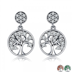 Genuine 100% 925 Sterling Silver Tree of Life ,AAA Zircon Drop Earrings for Women Sterling Silver Jewelry Brincos SCE067