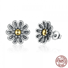 Authentic 100% 925 Sterling Silver Black Chrysanthemum Flower Stud Earrings For Women Fine Jewelry PAS455