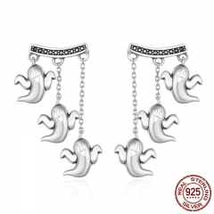 100% 925 Sterling Silver Unique Cute Halloween Ghost Drop Earrings for Women Vintage Jewelry Halloween Gift Bijoux SCE167