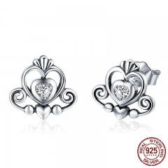New Collection 925 Sterling Silver Princess Crown Exquisite Stud Earrings for Women 2018 Earrings Silver Jewelry SCE420 EARR-0431
