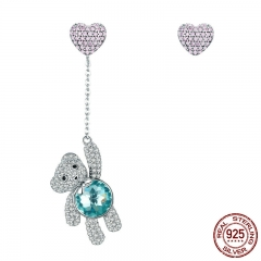 Genuine 100% 925 Sterling Silver Animal Lovely Bear And Heart CZ Stud Earrings for Women Sterling Silver Jewelry SCE388