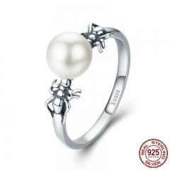 High Quality 100% 925 Sterling Silver Spider Shape Simulated Pearl Finger Rings for Women Fine Jewelry S925 Gift SCR289