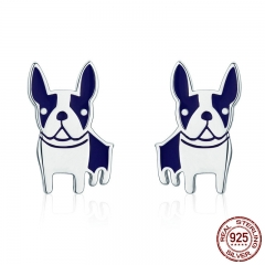 Hot Sale Genuine 925 Sterling Silver French Bulldog Small Stud Earrings for Women Sterling Silver Jewelry Brincos SCE328 EARR-0333