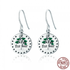Authentic 925 Sterling Silver Family Forever Family Tree Drop Earrings for Women Wedding Earrings Jewelry Gift SCE361