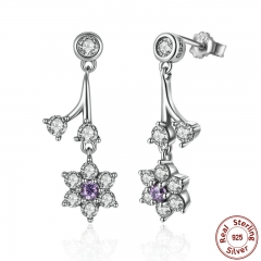 Summer Collection 925 Sterling Silver Forget Me Not, Purple & Clear CZ Women Drop Earrings Fine Jewelry PAS470
