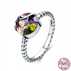 100% 925 Sterling Silver Natural Magic Colorful Crystal Stone Femme Finger Ring for Women Sterling Silver Jewelry SCR282