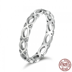 Authentic 925 Sterling Silver Stackable Ring Infinity Love Finger Rings for Women Sparking CZ Wedding Jewelry SCR098