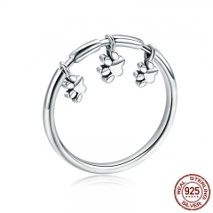 Authentic 925 Sterling Silver Animal Dog Footprints Finger Rings for Women Fashion Sterling Silver Ring Jewelry SCR394 RING-0432