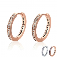 100% 925 Sterling Silver 4 Color Simple Gold Color Clear CZ Female Hoop Earrings for Women Fashion Jewelry Gift PAS530