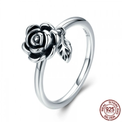 100% Real 925 Sterling Silver Romantic Rose Flower Leaves Female Finger Ring for Women Wedding Engagement Jewelry SCR274