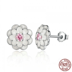 Spring Collection 925 Sterling Silver White Flower Elegant Stud Earrings Women Wedding Luxury Jewelry PAS462