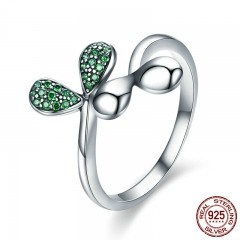 New Arrival Authentic 925 Sterling Silver Spring Tree Leaves Buds Green CZ Ring for Women Sterling Silver Jewelry SCR351