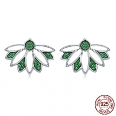 Real 100% 925 Sterling Silver Tree of Life Leaves Green CZ Stud Earrings for Women Sterling Silver Jewelry S925 SCE334
