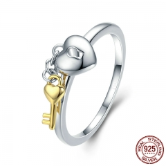 925 Sterling Silver Heart Lock with Gold Color Key Finger Rings for Women Anniversary Engagement Jewelry S925 SCR205