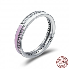 Authentic 925 Sterling Silver Radiant Pink Enamel Double Layer Finger Rings for Women Sterling Silver Jewelry Anel SCR187