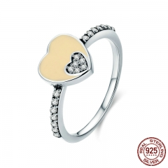 Romantic New 100% 925 Sterling Silver Sweet Double Heart CZ Finger Rings for Women Sterling Silver Jewelry Gift SCR316