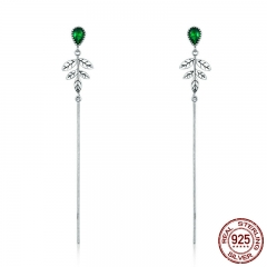 New Arrival 100% 925 Sterling Silver Spring Tree Leaves Green CZ Long Drop Earrings for Women Fashion Jewelry S925 SCE333
