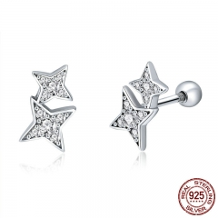 100% 925 Sterling Silver Sparkling Star Meteor Luminous Crystal Stud Earrings For Women Fashion Silver Jewelry SCE432