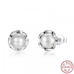 925 Sterling Silver Cultured Elegance Stud Earrings With White Fresh Water Cultured Pearl Sterling Silver Jewelry PAS420