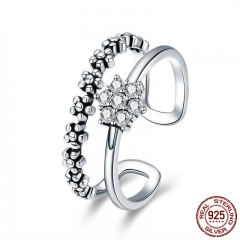 Genuine 925 Sterling Silver Elegant Daisy Flower Finger Ring Adjustable Open Size Rings for Women Silver Jewelry SCR428