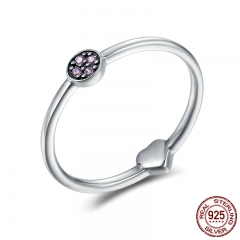 Real 100% 925 Sterling Silver Classic Round & Heart Purple Clear CZ Finger Rings for Women Sterling Silver Jewelry SCR161