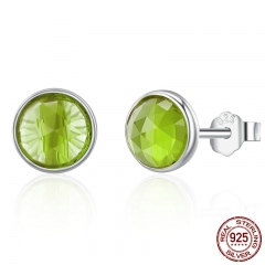 100% 925 Sterling Silver August Droplets Peridot Birthday Stone Stud Earrings for Women Sterling Silver Jewelry PAS525 EARR-0258