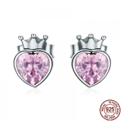 Authentic 925 Sterling Silver Sweet Pink Heart of Crown Stud Earrings for Women Luxury Silver Jewelry Bijoux Gift SCE174