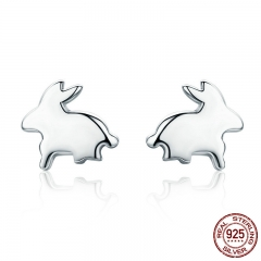 100% 925 Sterling Silver Easter Day Gift Cute Rabbit Small Stud Earrings for Women Sterling Silver Jewelry Bijoux SCE294